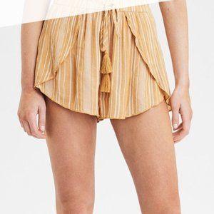 American Eagle AEO Yellow Striped Tulip Shorts